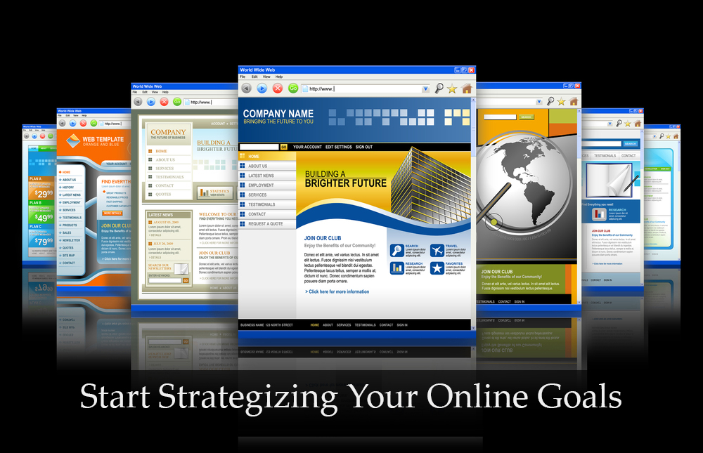 Seven technology internet business websites are standing upright with a reflection. There is one big one and smaller ones fading in back. Has black isolated background.
